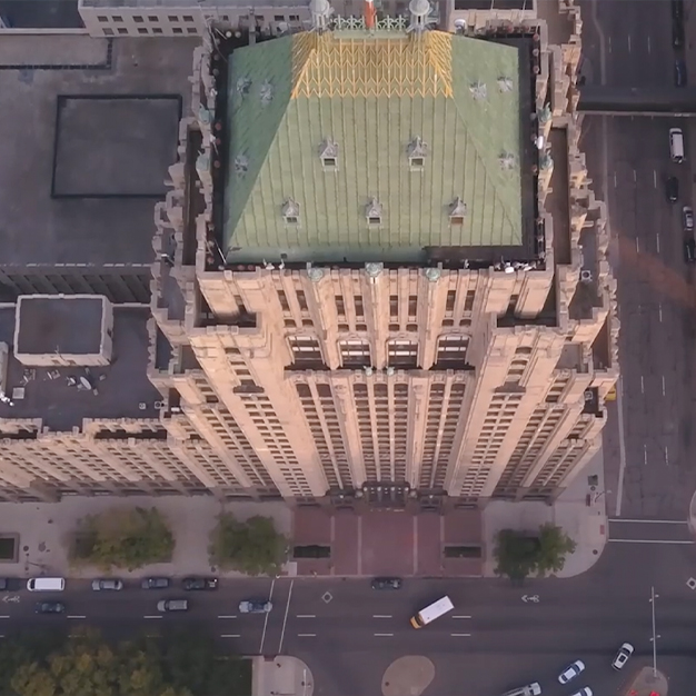 a birds eye view of the fisher building in Detroit